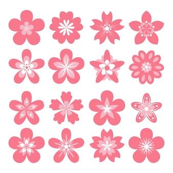 Kolekcja płaskich różowych kwiatów sakura