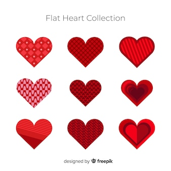 Kolekcja płaskich serca