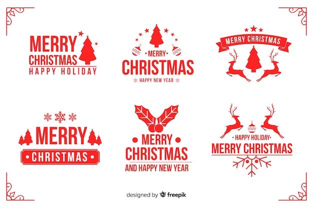 Kolekcja płaskich świątecznych etykiet
