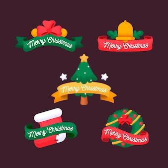 Kolekcja płaskich świątecznych wstążek