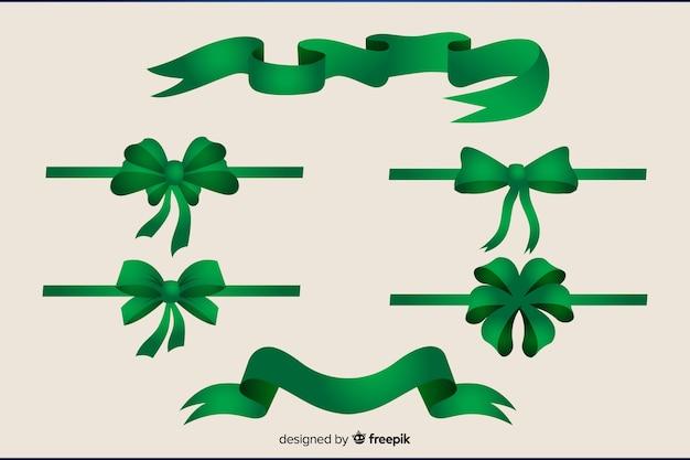Kolekcja płaskich świątecznych zieloną wstążką