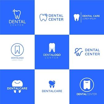 Kolekcja płaskich szablonów logo stomatologicznych