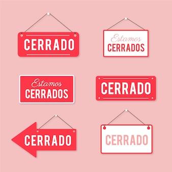 Kolekcja płaskich szyldów `` cerrado ''