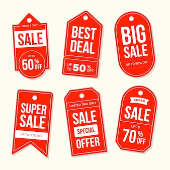 Kolekcja płaskich tagów sprzedaży