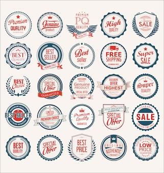 Kolekcja płaskich tarcz odznaki i etykiety w stylu retro