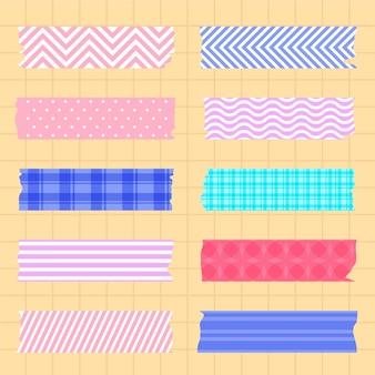 Kolekcja płaskich taśm washi