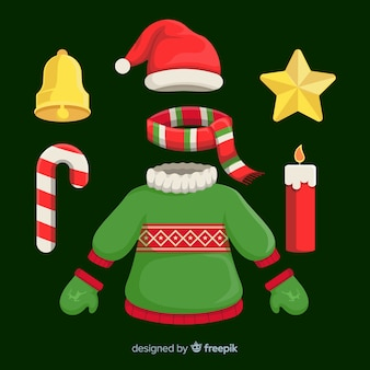 Kolekcja płaskich ubrań świątecznych