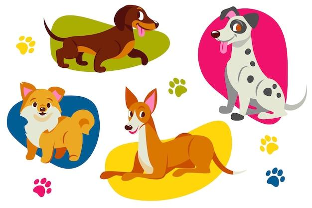 Kolekcja płaskich uroczych psów