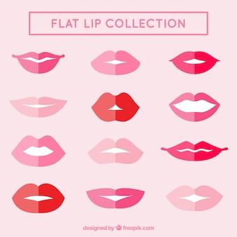 Kolekcja płaskich ustach