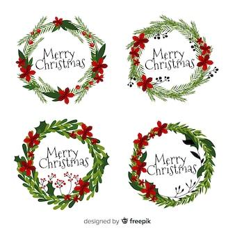 Kolekcja płaskich wieniec świąteczny
