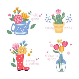 Kolekcja płaskich wiosennych etykiet
