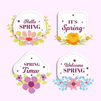 Kolekcja płaskich wiosennych odznak