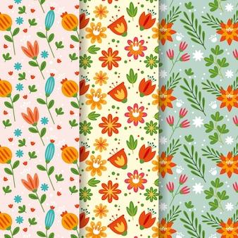 Kolekcja płaskich wiosennych wzorów