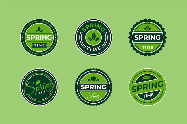 Kolekcja płaskich wiosennych znaczków