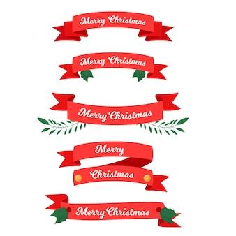 Kolekcja płaskich wstążek świątecznych