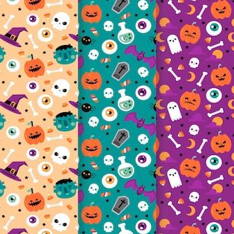 Kolekcja płaskich wzorów halloween