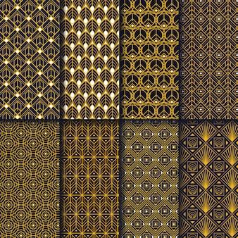 Kolekcja płaskich wzorów w stylu art deco