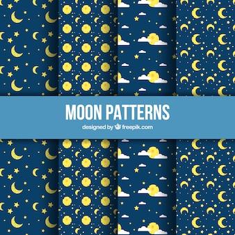 Kolekcja płaskich wzorów z księżyców i gwiazd