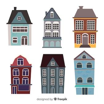 Kolekcja płaskich zabytkowych domów