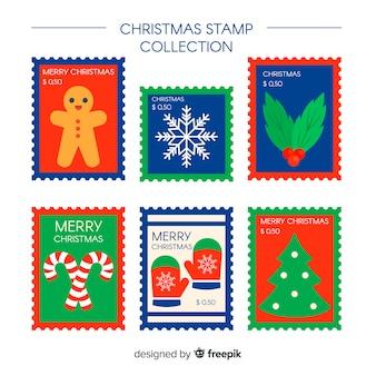 Kolekcja płaskich znaczków christmas