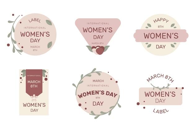 Kolekcja płaskich znaczków na dzień kobiet
