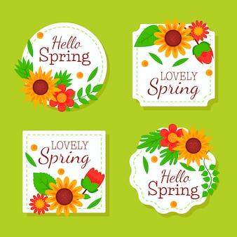 Kolekcja płaskich znaczków wiosennych