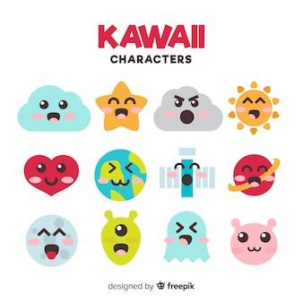 Kolekcja płaskich znaków kawaii