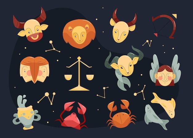 Kolekcja płaskich znaków zodiaku