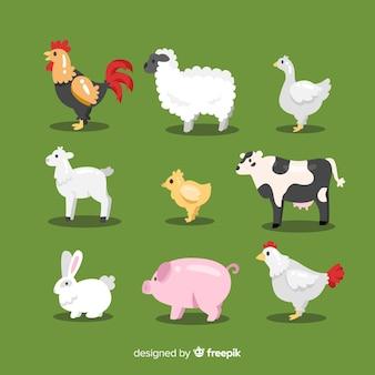 Kolekcja płaskich zwierząt gospodarskich