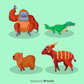 Kolekcja płaskich zwierząt tropikalnych