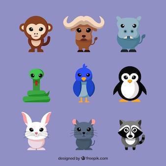 Kolekcja płaskich zwierząt z zabawa stylu