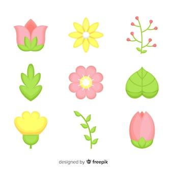 Kolekcja płaskie kolorowe kwiaty i liście