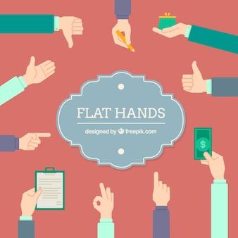 Kolekcja płaskie ręce