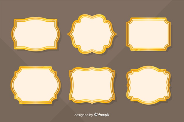 Kolekcja płaskie rocznika złotej ramie
