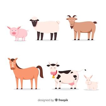 Kolekcja płaskie słodkie zwierzęta gospodarskie