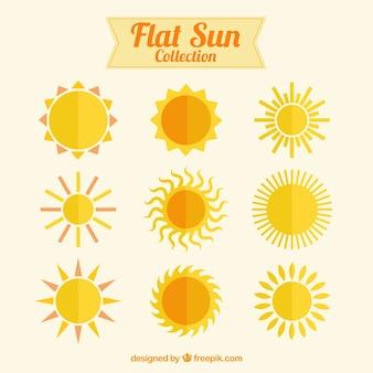 Kolekcja płaskie słońca