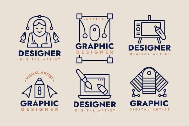 Kolekcja płaskiego logo projektanta graficznego