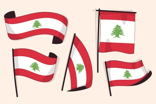 Kolekcja płaskiej flagi libańskiej