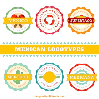 Kolekcja płaskiej słodkie restauracja meksykańska logo