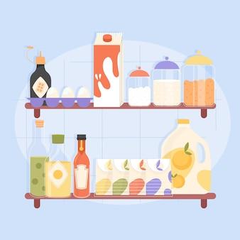 Kolekcja płaskiej spiżarni z różnymi potrawami