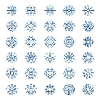 Kolekcja płatki śniegu. ozdoby świąteczne symbole śniegu projektowanie logo płatki śniegu elementy graficzne