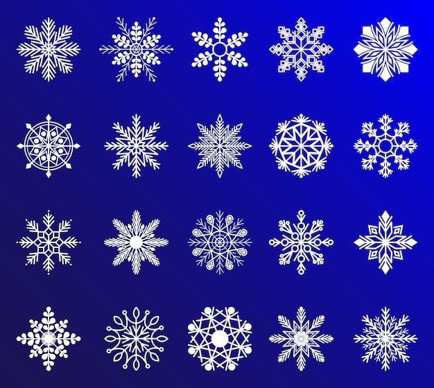 Kolekcja płatków śniegu do projektowania bożego narodzenia i nowego roku