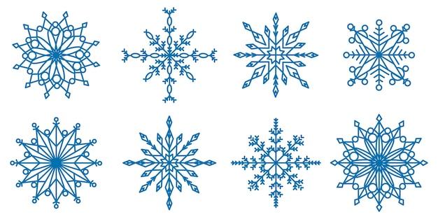 Kolekcja płatków śniegu o różnych kształtach
