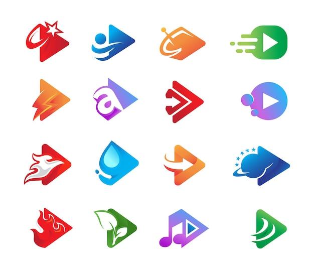 Kolekcja play projektowanie logo wideo aplikacji