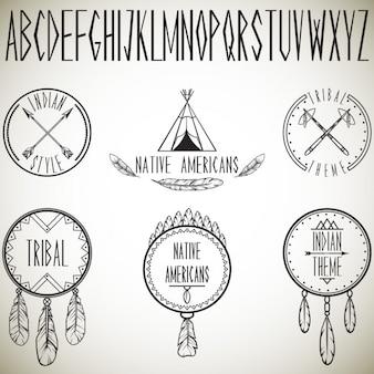 Kolekcja plemiennych elementów i ilustracji wektorowych alfabetu