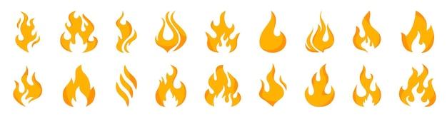 Kolekcja płomienie o różnych kształtach. zestaw płonącego ognia, płomienie wektorowe ikony. czerwony i pomarańczowy płomień ognia. płomień, znaki wektora ognia. ikony płomieni. energia i moc. gorące płomienie
