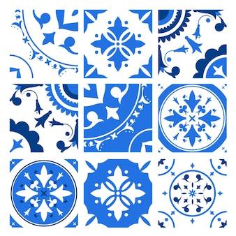 Kolekcja płytek ceramicznych z różnymi tradycyjnymi wzorami orientalnymi i antycznymi ornamentami dekoracyjnymi