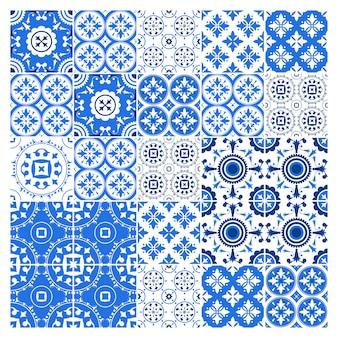 Kolekcja płytek majolica w stylu azulejo. niebieski wzór z narodowym zestawem ozdobnym. ilustracja.