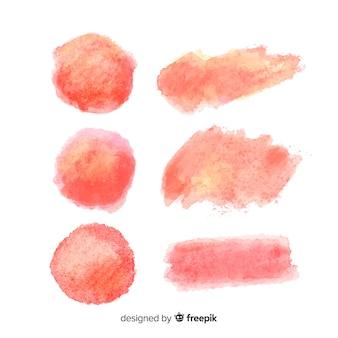 Kolekcja pociągnięć pędzla akwarela brzoskwini