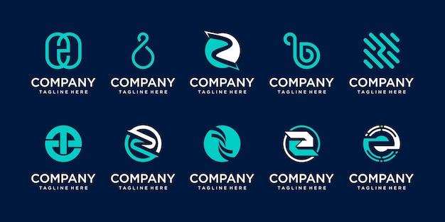 Kolekcja początkowa litera z logo ikona scenografia dla biznesu technologii motoryzacyjnej digital